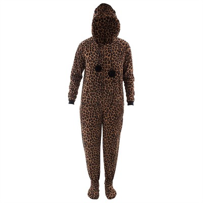Leopard Hooded Footed Pajamas for Women