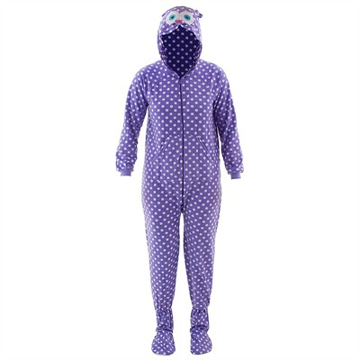 Purple Owl Hooded Footed Pajamas for Women