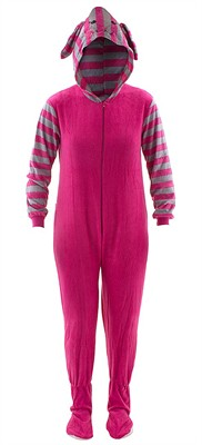 Pink Bunny Hooded Footed Pajamas for Women