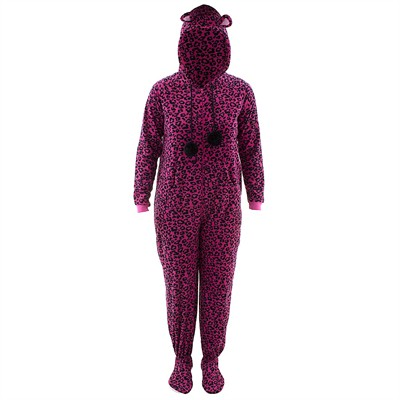 Pink Leopard Hooded Footed Pajamas for Women