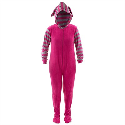 Pink Bunny Striped Hooded Footed Pajamas for Women