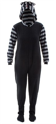 Raccoon Striped Hooded Footed Pajamas for Women