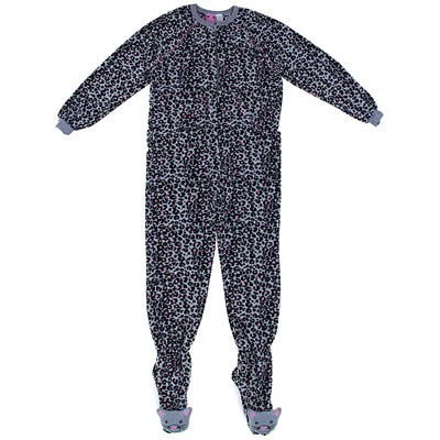 Gray Leopard Print Footed Pajamas for Women