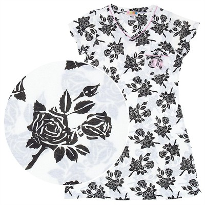 Black and White Floral Nightshirt for Women