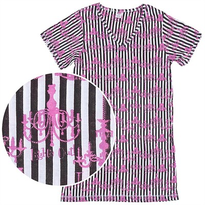 Lights Out Black and White Striped Nightshirt for Women