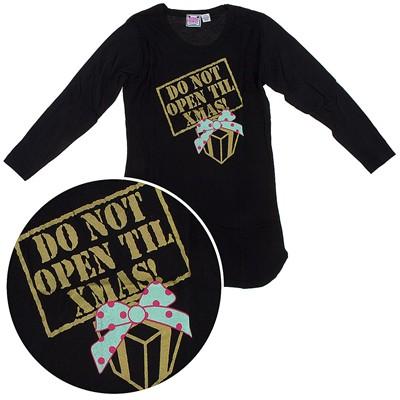 Katnap Black Do Not Open Until Christmas Nightshirt for Women