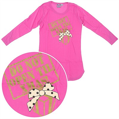 Katnap Pink Do Not Open Until Christmas Nightshirt for Women