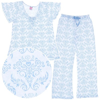 Blue and White Pajamas for Women