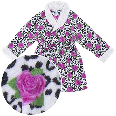 White Rose Plush Short Bath Robe for Women