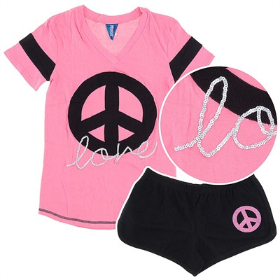Peace and Love Shorty Pajamas for Juniors
