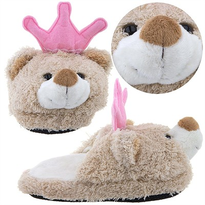 Teddy Bear with Princess Crown Slippers for Toddler Girls