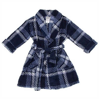Gray Plaid Bathrobe for Boys