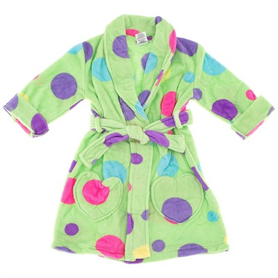 Green Polka Dot Bathrobe for Girls