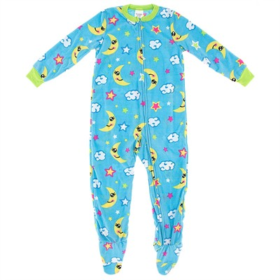 Blue Night Sky Girls Footed Pajamas