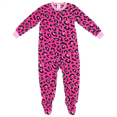 Bright Pink Leopard Print Girls Footed Pajamas
