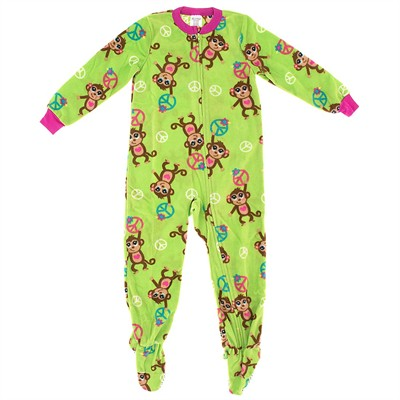 Bright Green Monkey Girls Footed Pajamas