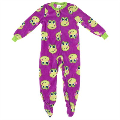 Dark Purple Frog Girls Footed Pajamas