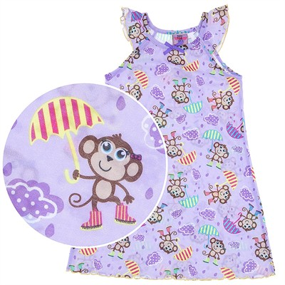 Purple Monkey Nightgown for Girls
