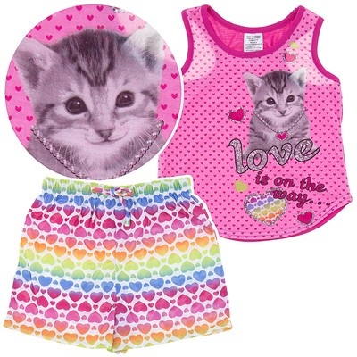 Pink Cat Shorty Pajamas for Girls