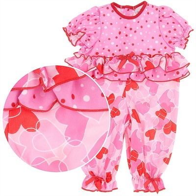 Laura Dare One Piece Heart and Polka Dot Pajamas for Baby Girls