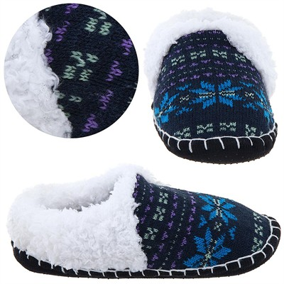 Black and Blue Knit Moccasin Slippers for Ladies