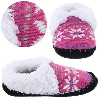 Pink and White Knit Moccasin Slippers for Ladies
