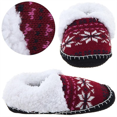 Red and White Knit Moccasin Slippers for Ladies