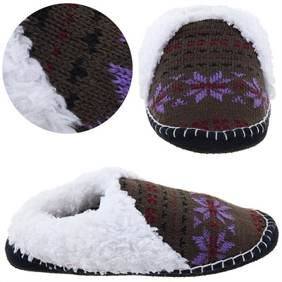 Tan and Purple Knit Moccasin Slippers for Ladies