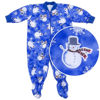 Lanz of Salzburg Blue Snowman Footed Sleeper Pajamas for Baby Boys