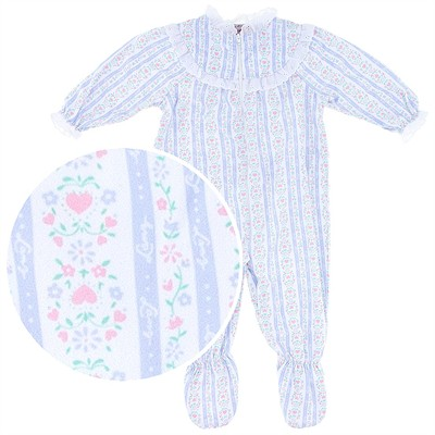 Lanz of Salzburg Light Blue Tyrolean Footed Pajamas for Infant Girls