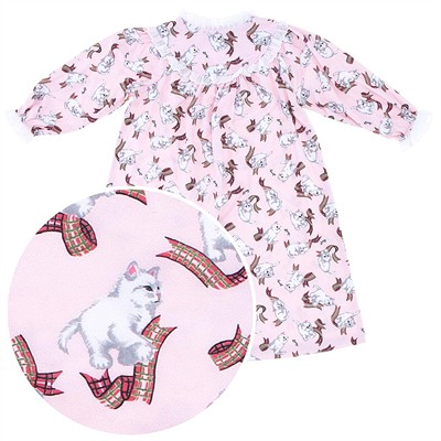 Lanz of Salzburg Pink Kitten Nightgown for Toddler Girls