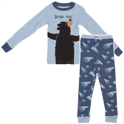Lazy One Blue Bear Hug Cotton Pajamas for Toddler Boys
