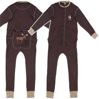 Lazy One Brown Moose Cotton Union Suit for Toddler and Kids