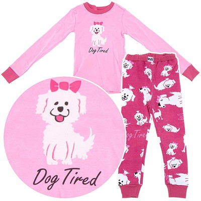 Lazy One Dog Tired Cotton Pajamas for Toddlers and Girls