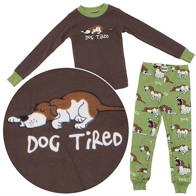 Lazy One Dog Tired Cotton Pajamas for Toddlers and Boys