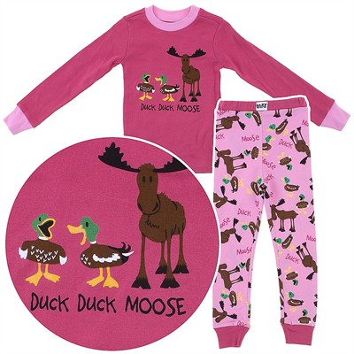 Lazy One Duck Duck Pink Moose Cotton Pajamas for Toddlers and Girls
