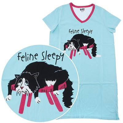 Lazy One Feline Sleepy Cotton Nightshirt for Women