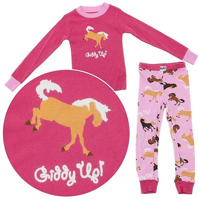 Lazy One Giddy Up Cotton Pajamas for Toddlers and Girls