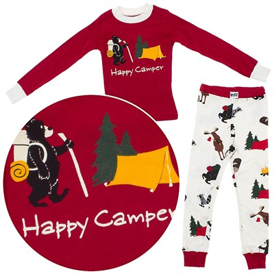 Lazy One Happy Camper Cotton Pajamas for Toddler Boys
