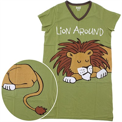Lazy One Lion Around Cotton Nightshirt for Women