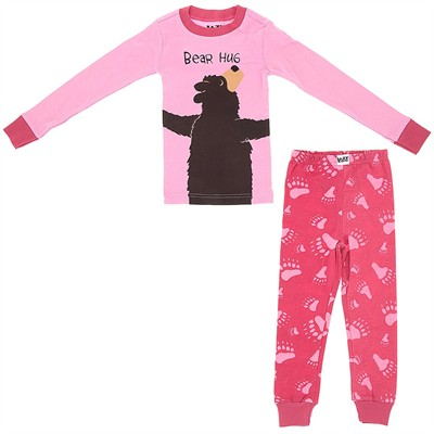 Lazy One Pink Bear Hug Cotton Pajamas for Girls