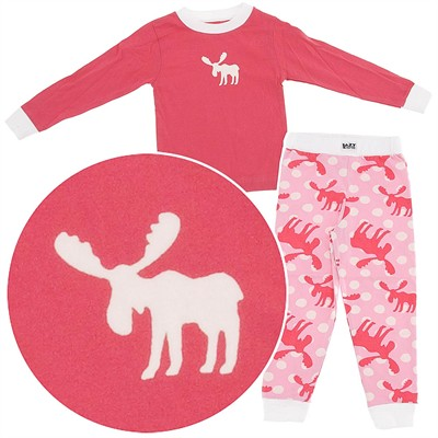 Lazy One Pink Moose Cotton Pajamas for Toddlers and Girls