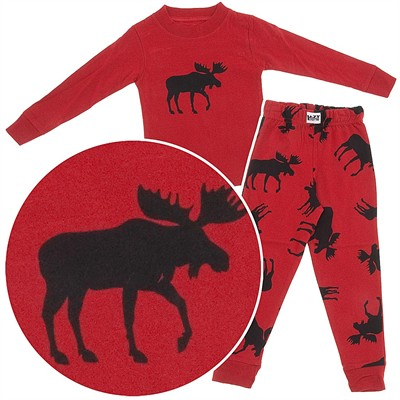 Lazy One Classic Moose Cotton Pajamas for Toddlers and Boys