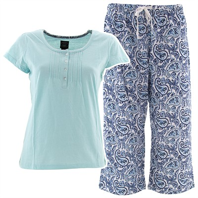 Laura Ashley Blue Paisley Capri Pajamas for Women