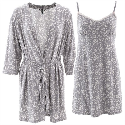 Laura Ashley Gray Bouquet Chemise and Robe Set for Women