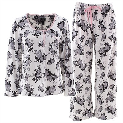 Laura Ashley Gray Rose Pajamas for Women