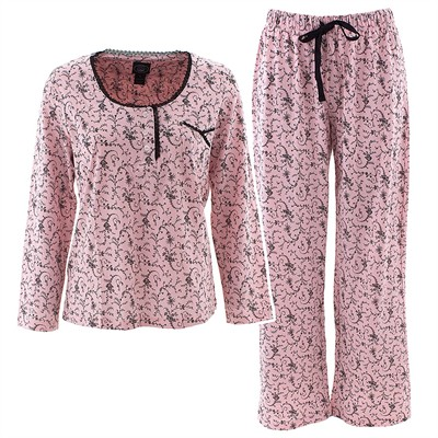 Laura Ashley Pink Scroll Pajamas for Women