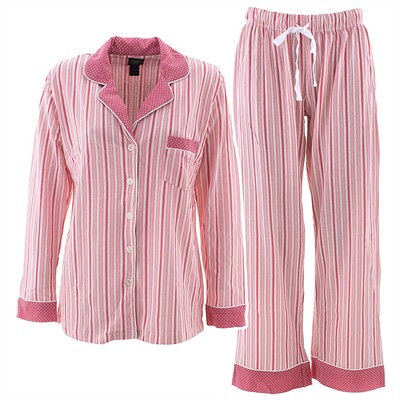 Laura Ashley Coral Striped Pajamas for Women
