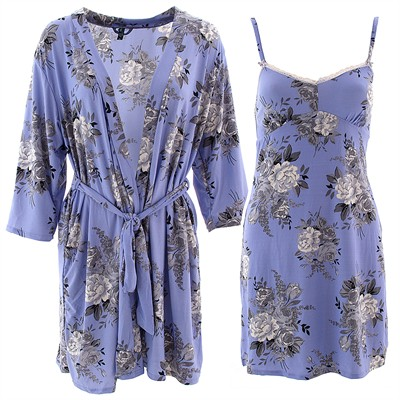 Laura Ashley Periwinkle Rose Chemise and Robe Set for Women