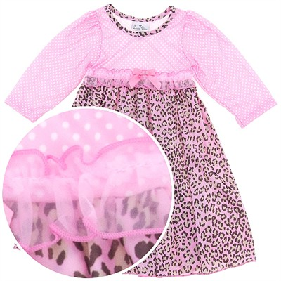 Laura Dare Pink Animal Print Long Sleeved Nightgown for Toddlers and Girls